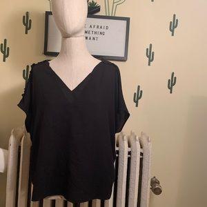 Cooper and Ella black short sleeve blouse size XL